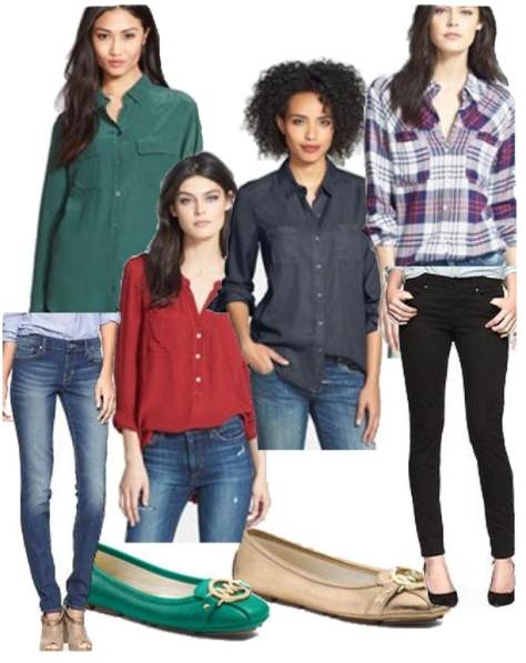 Here are some examples of skinny jeans and button up shirt color combinations. Created with the StyleChat App.