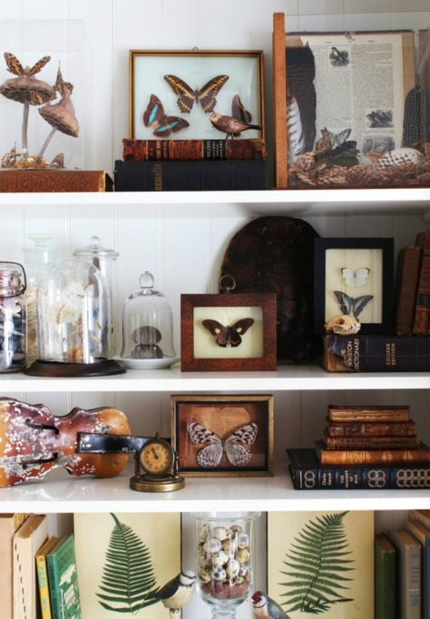 An eclectic mix of personal treasures and hobbies that makes for an interesting shelf, and a perfect conversation starter. Photo courtesy of www.ourboathouse.com
